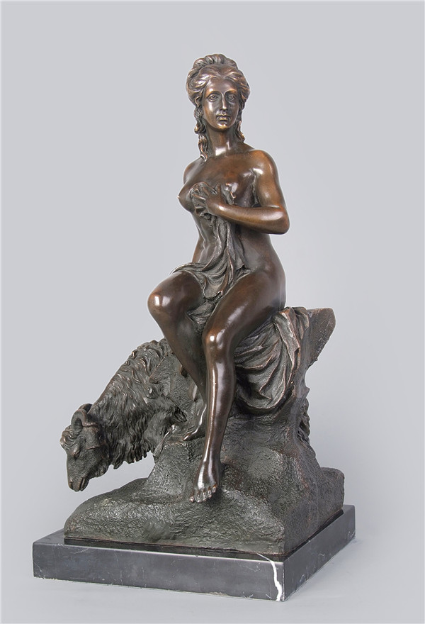 Classical Bronze Statue lady sexy sculptures for decoration beauty sitting on goat figurines lost wax casting(China (Mainland))