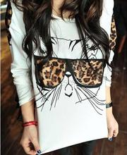 2015 Plus size Autumn Women Leopard Glasses Cat T Shirt Ladies Long Sleeve Loose White t-shirts summer tshirt Cotton tshirt 5014(China (Mainland))