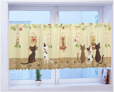 High Quality cat print coffee curtain kitchen curtains for windows door curtain semi-shade brief cloth short curtain145 45cm(China (Mainland))
