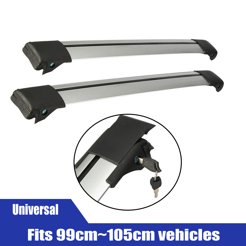 2x Car Roof Rack Cross Bar Top Roof Box Luggage Boat Bike Carrier Anti-theft Lock Adjustable Silver Black fits 99-105cm vehicles(China (Mainland))