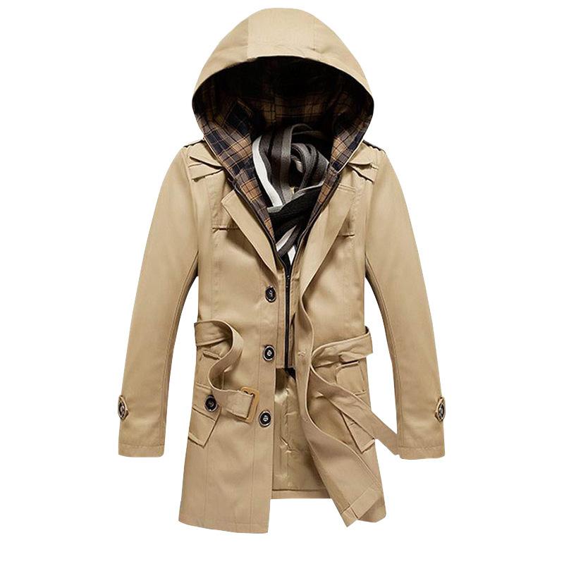 brand trench coat men homme 2016 fashion hooded design mens slim fit long windbreaker coat. Black Bedroom Furniture Sets. Home Design Ideas