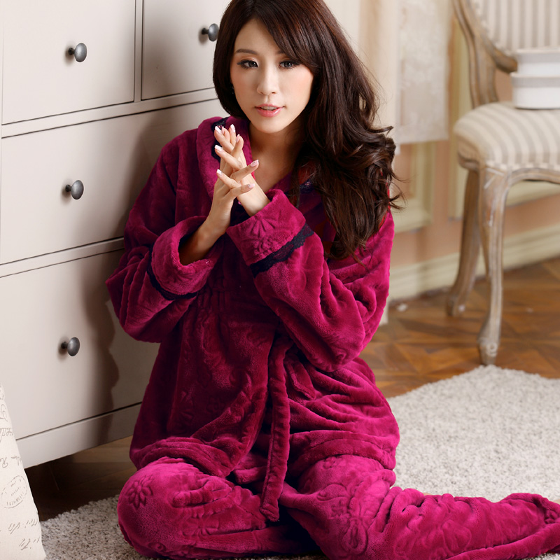 Autumn and winter women's long-sleeve sleepwear flannel sleepwear lounge thickening coral fleece sleepwear female at home(China (Mainland))