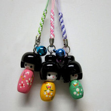 3Pcs/lot Cute Painted Wooden Doll Cell Phone Strap Pendant for phone bag keys(China (Mainland))