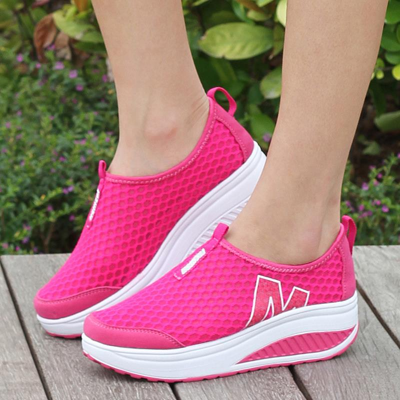 Height Increasing 2015 Summer Shoes Women's Sneakers Sport Fashion Running Sneakers for Women Swing Wedges Shoes Breathable(China (Mainland))