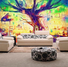 Magic Tree House painted Custom papel de parede 3d stereo brickwall wallpaper mural for living room TV backdrop 3D wall paper