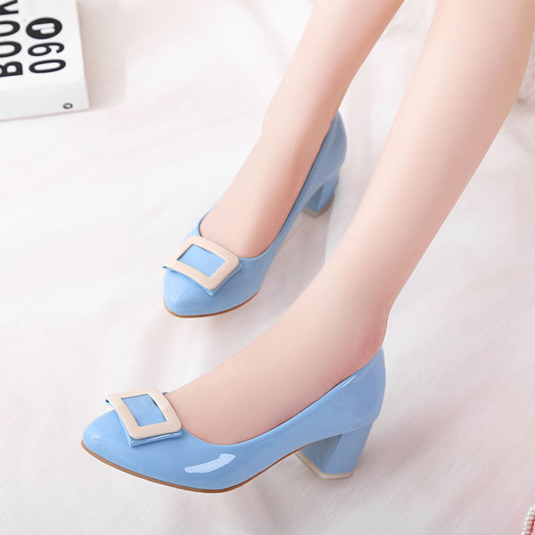 big Size 9-12 women fashion vintage Four Seasons wild round toe shoes Med heel shoes square heel Patent leather Low shoes XO038<br><br>Aliexpress