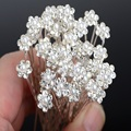 Wholesale 40Pcs lot Silver Plated Crystal Hair Pins Rhinestone Clips Wedding Bridal Hair Accessories Women Jewelry