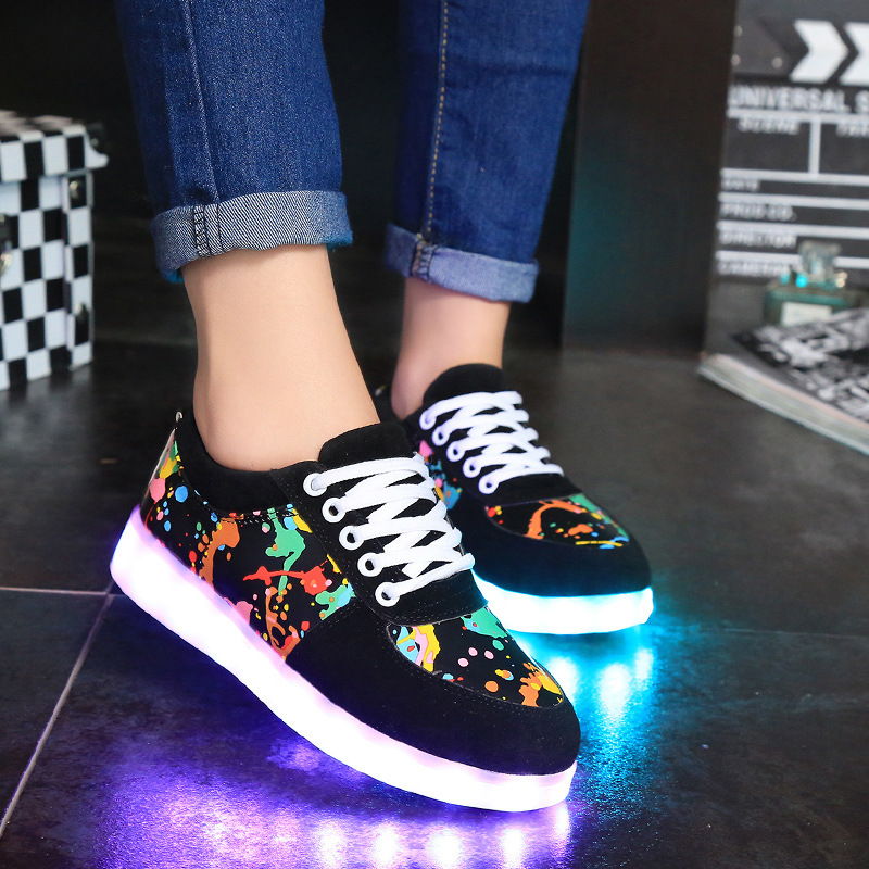 Lover led luminous colorful shoes women casual shoes man 2016 new arrived(China (Mainland))