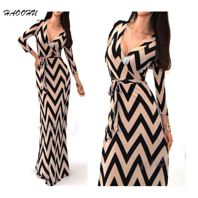 Brand New 2015 Autumn New Women Maxi font b dresses b font vestidos Sexy V neck