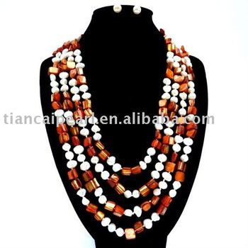 Fashion Ladies' Gift/Life/Wedding Costume  necklace set Nature Freshwater Pearl Necklace&Earrings Set