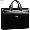 2016 The Classic Genuine Leather Briefcase Men s Business Solid Zipper Bags High Quality Messenger 14inch