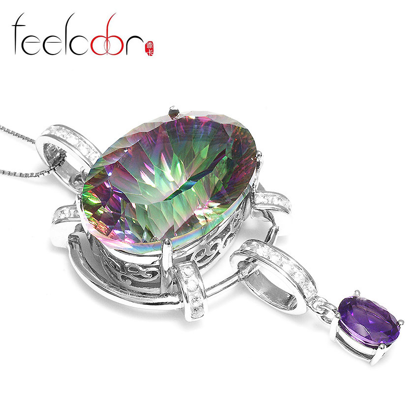 HUGE Fashion Women 39ct Genuine Natural Amethyst Rainbow Fire Mystic Topaz Pendant Necklace Solid Pure Real 925 Sterling Silver<br><br>Aliexpress