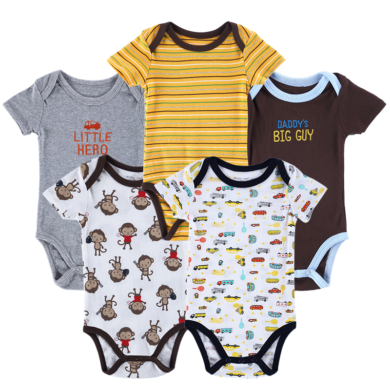 New roupas bebes 5pcs/lot Brand Baby Bodysuits Summer Newborn Cotton Body Baby Short Sleeve Next Infant Boys Girls Clothes<br><br>Aliexpress