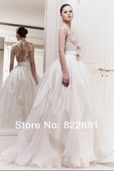 Zuhair Murad New Arrival Luxury Sexy Illusion Bodice Lace Bow Real Sample Wedding Dresses Bridal Ball Gowns Custom Made