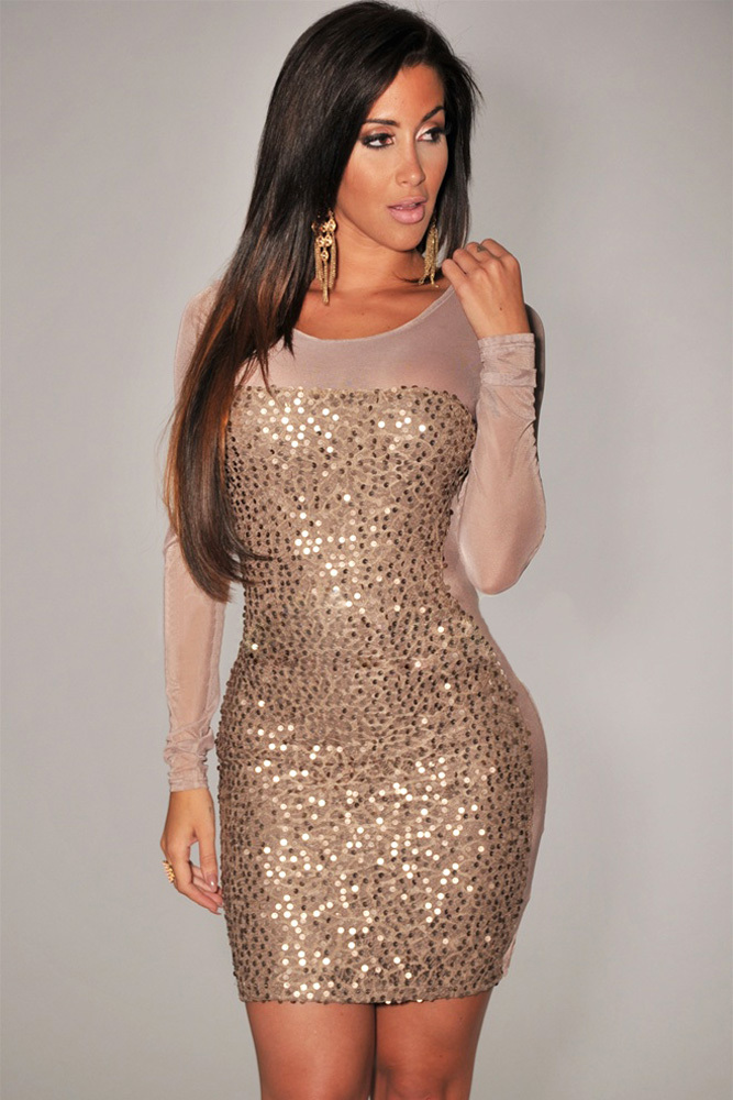 Long sleeve mini dress plus size