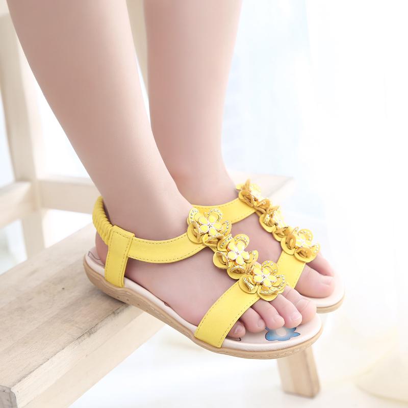 Цветок сандалии для девочки лето натуральная кожа лежа дети обувь элегантный принцесса дети обувь