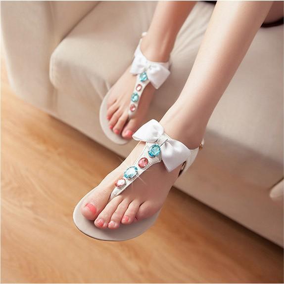 Hot Sale Summer New Genuine Leather Women Sandals 2015 Fashion Bowtie Glitter Gem Flip-Flop All-Match Leather Sandals Women35~40<br><br>Aliexpress