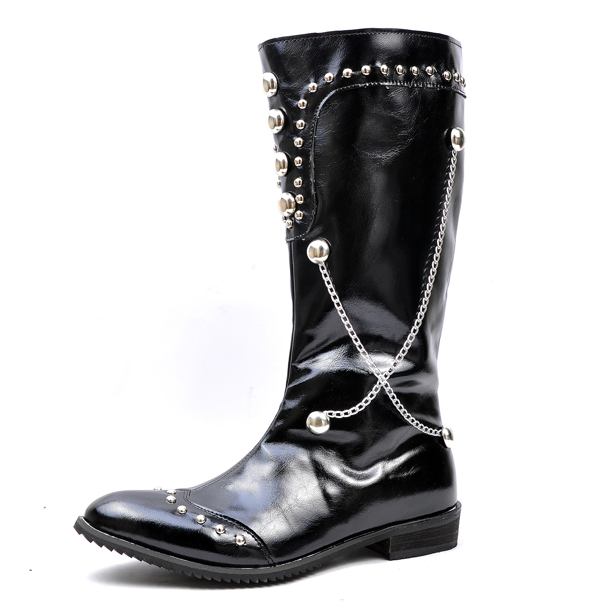 black s shoes knee high boots rivets chains side