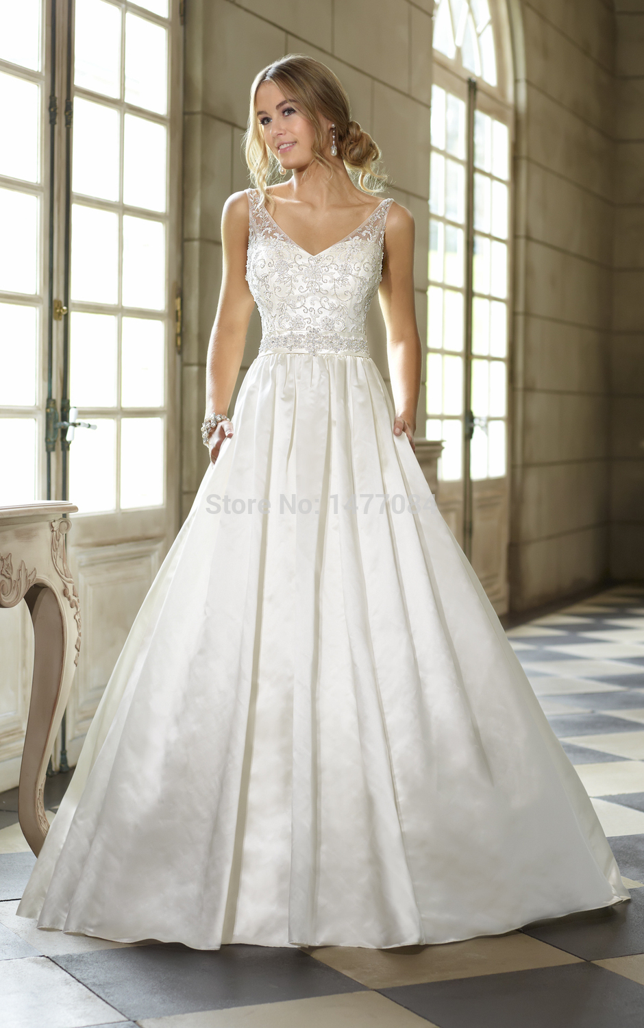 Gorgeous beautiful satin ball gown classic sparkle for White sparkly wedding dress
