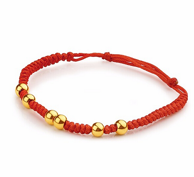 Hot Sale  Real 999 24K Yellow gold Smooth Beads BABY Red String Bracelet 1.32g<br><br>Aliexpress