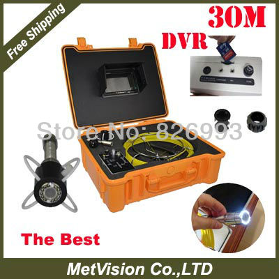 DVR recording Monitor Microphone Drainage and Plumbing Pipe Inspection Camera System free shipping DVR 30m cable(China (Mainland))