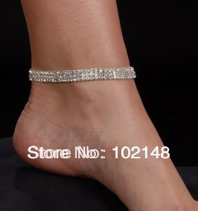 sexy 3 row rhinestone elastic strentch foot bracelet anklet gold & silver plated bling fashion foot jewelry(China (Mainland))