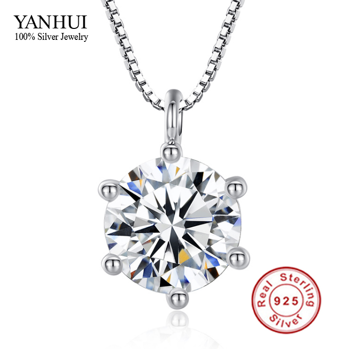 Promotion!!! Fine Jewelry Hearts and Arrows 8mm 2 Carat CZ Diamond Pendant Necklace 925 Sterling Silver Necklace Women BKN001(China (Mainland))