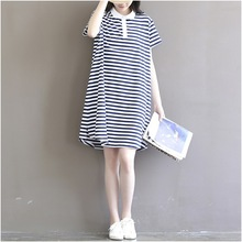 2016 New Summer Short Sleeve Maternity Casual Cotton Dress A line Striped Pattern Plus Size Pregnancy Dress Vestido Amarelo