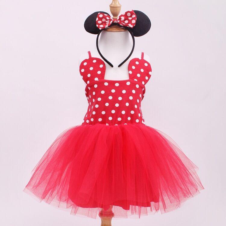 EMS DHLFree Shipping Kids Girls Holiday Princess pettiskirt tutu , pom pom dancing dress + head band Minnie Dress Red Pink<br><br>Aliexpress