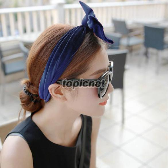 ASLT Chic Pleuche Hair Band Hair Belt Changeable Headband for Women Navy Blue(China (Mainland))