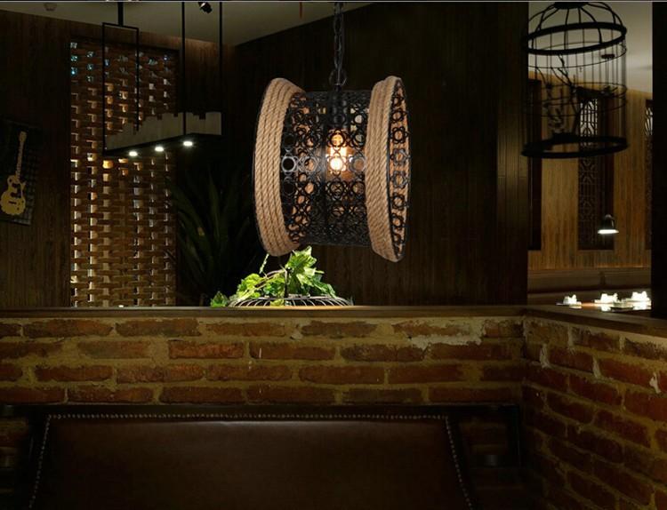 Купить Nordic Американский Кантри Ретро Ресторан Кафе Подвесной Светильник Творческая Личность Магазин Одежды Веревка Подвесной Светильник Бесплатная Доставка
