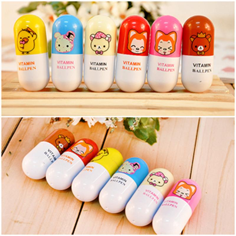 Kawaii Cartoon Animal Novelty Retractable Pill Shape Ballpoint Pen Promotional Gift Stationery Student Prize
