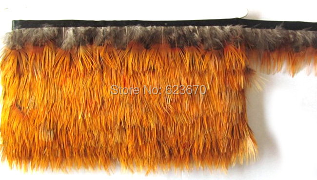 Free shipping 5 yards/lot yellow head real natural pheasant feather boa stripe for clothing accessories craft making bulk sale(China (Mainland))