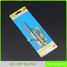 New Copper DC 6V/12V/24V AUTO Voltage Tester Test Pen For Car Motorcycle Circuit Repair Tools Free Shipping(China (Mainland))