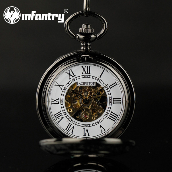 INFANTRY Luxury Vintage Hunter Mechanical Skeleton Wind Up Pocket Watches Black Stainless Steel Chain Steampunk Pocket Watch(Hong Kong)