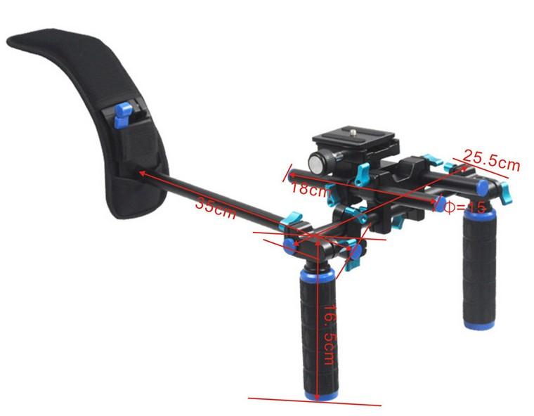 Portable FilmMaker System DSLR Rig Shoulder Mount, Soft Rubber Shoulder Pad Dual-hand Handgrip DSLR Camera Camcorder