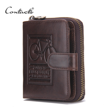 CONTACT'S Brand Men Genuine Leather Wallets Card Holder Luxury Purse Designer High Quality Business Mini Wallet Dollar Price(China (Mainland))