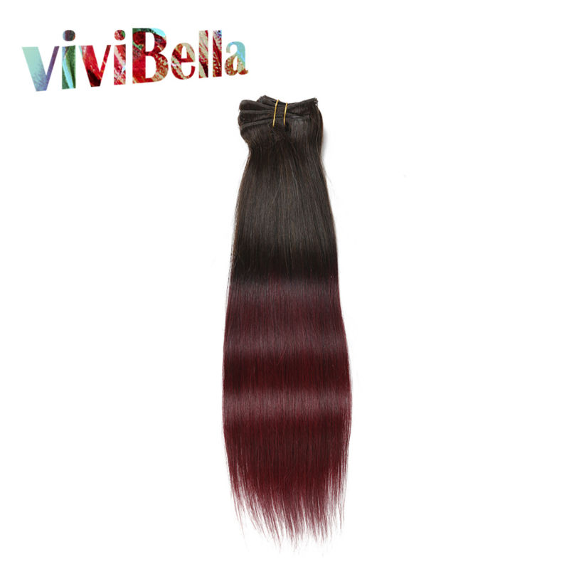7pcs Brown Ombre Clip in Chinese Hair Extensions For Woman 70g 100g 160g Wholesale Full Sets Hair Extensions Clip in Sets 99J(China (Mainland))