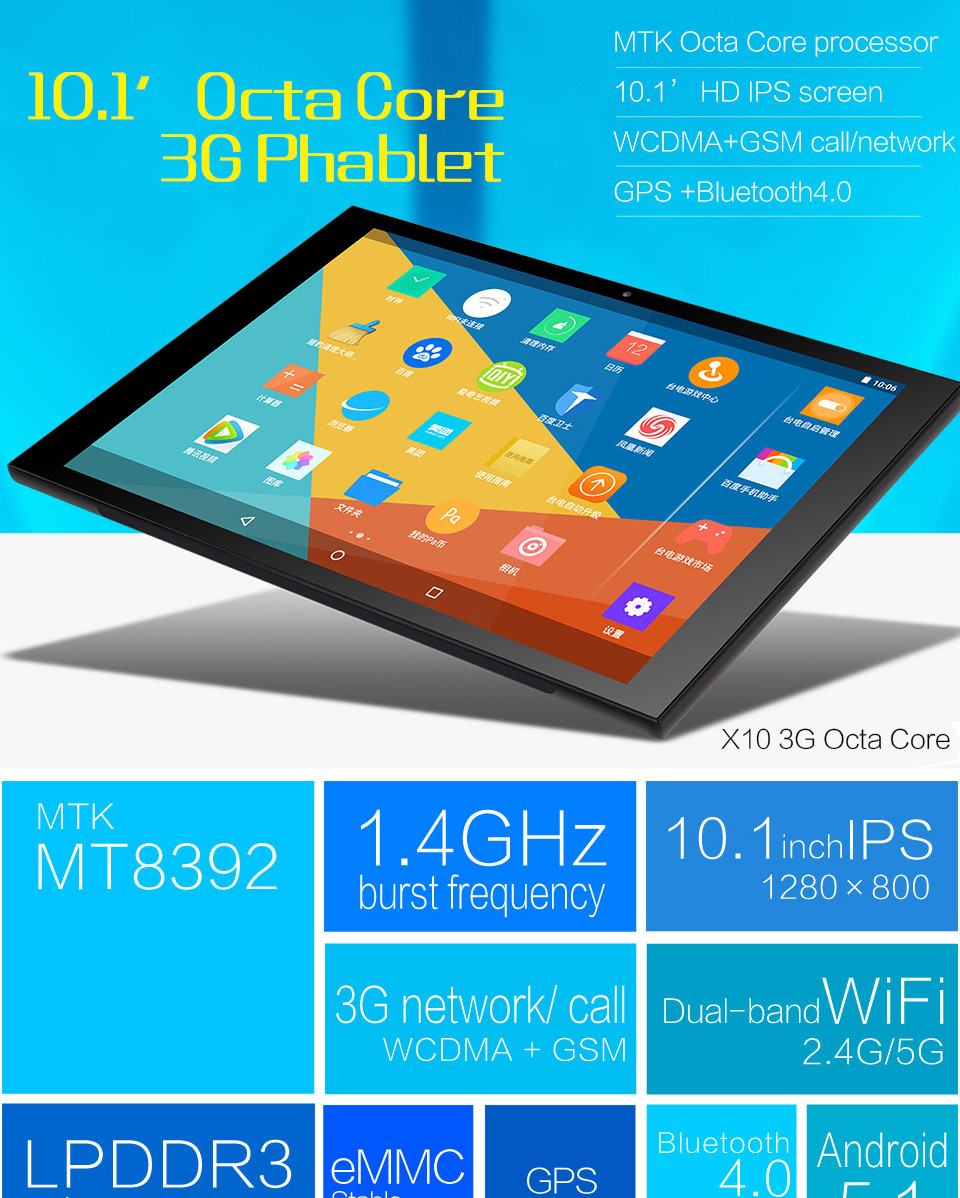 buy teclast x10 3g octa core gps tablet 10 1 inch hd 16gb android 5 1 gsm fiscales Tous les