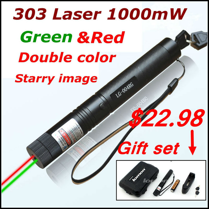 [RedStar]303 double color Laser gift set 1000mW red &amp; green laser pointer starry image include 18650 battery and charger 305#<br><br>Aliexpress