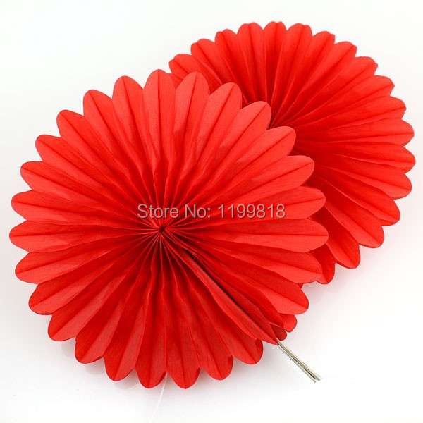 Free Shipping 8inch(20cm) Colorful Round Paper Fan Wedding Party Tissue Flower Fan Christmas Halloween Decoration Fan(China (Mainland))
