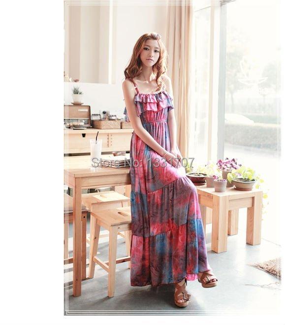 Free Shipping Women's Dress Beachwear Strap Ruffle Multicolor Flowers Girls Floral Top Fancy Dresses Wholesale 2098(China (Mainland))