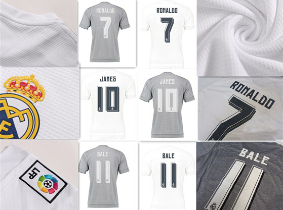 Thai Quality 2015 2016 real Madrid Soccer Jerseys, 2016 ronaldo BALE KROOS JAMES White Grey Home away Football shirts,wholesale(China (Mainland))