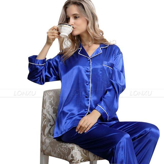 Женская Шелковый Атлас Пижамы Набор Пижамы Пижамы Набор Пижамы Loungewear XS, S, ...