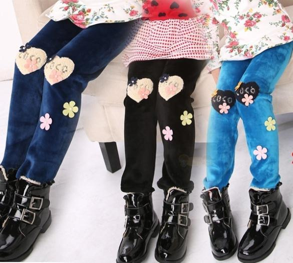 Мода новый дети девушки узкие брюки, детская девочка зима ворсинок шерсти брюки, 3 цветов теплый брюки
