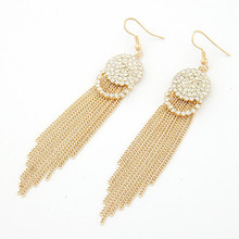 Pendientes Mujer 2016 Fashion Long Earrings for Women Vintage Gold Tassel Crystal Dangle Earrings Boucle d'oreille Brincos(China (Mainland))
