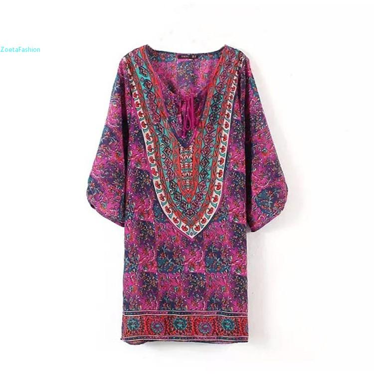 Summer Vintage Style Women Dress Chiffon V-Neck 3/4 Sleeve Print Casual Loose Mini Shift Dress M L Red Purple 34(China (Mainland))