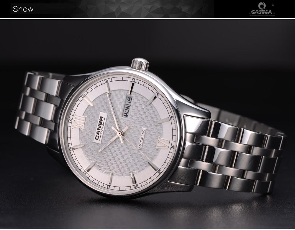 Casima часы мужчины нержавеющая сталь сапфир автоматический self-ветер часы бизнес мода классическая календарь водонепроницаемый 100 м # 6808
