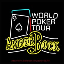 Amber Bock World Poker Tour Neon Sign Store Display Handcrafted Neon Bulb Great Gift Real Glass Tube Advertise Decorative 31x24(China (Mainland))