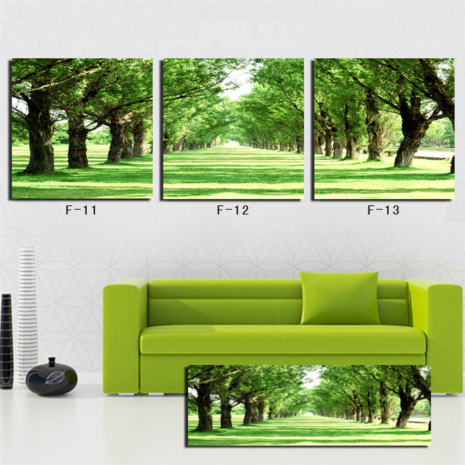 NOT FRAMED Free Shipping Hot Sell Wall pictures for living room Green Nature hand painted to canvas print Wall Art Picture(China (Mainland))